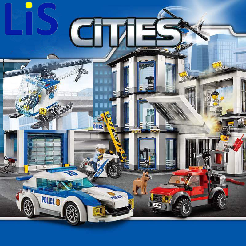 Lis LEPIN 02020 965Pcs City Series The New Police Station Set Children Educational Building Blocks Bricks Toys Model Gift 60141 new lepin 16042 pirate ship series building blocks the slient mary set children educational bricks toys model gift with 71042