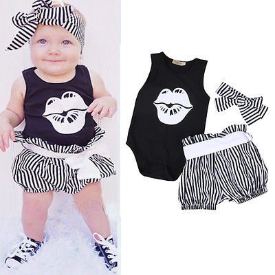 Baby Girl Clothing Sets Toddler Infant Girls Sleeveless Lips Romper T-shirt+Short Stripe Pants Headwear Kids Clothes Outfits 1