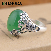 BALMORA Authentic 990 Pure Silver Vintage Flower Butterfly Green Yellow Oval Rings For Women Lover Party