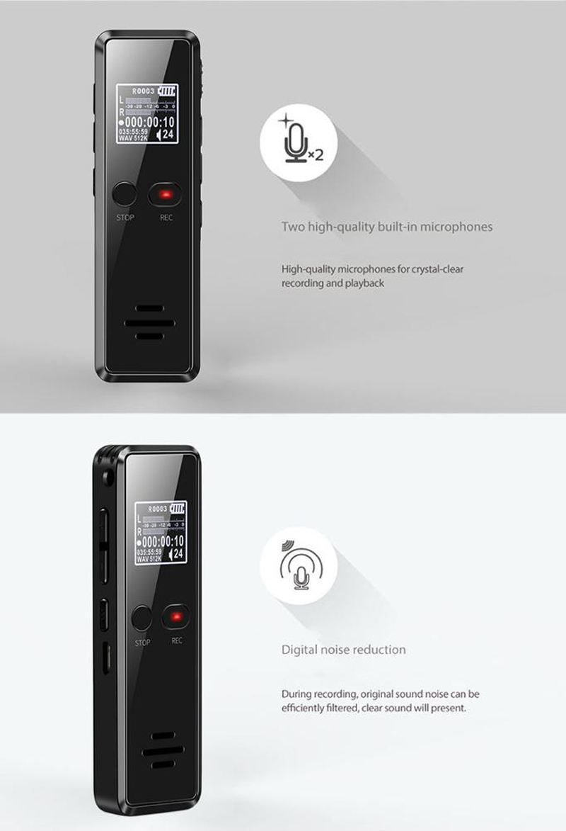 Volemer V90 Digital Voice Activated Recorder Dictaphone Long Distance Audio Recording Mp3 Player Noise Reduction Wav Recording (1)