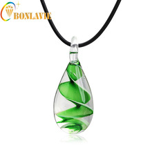 2017 Murano Inspired Cute Mini Clear Quartz Glass Waterdrop Pendant Necklace Rope Chain Colorful Waterdrop Crystal Necklace(China)