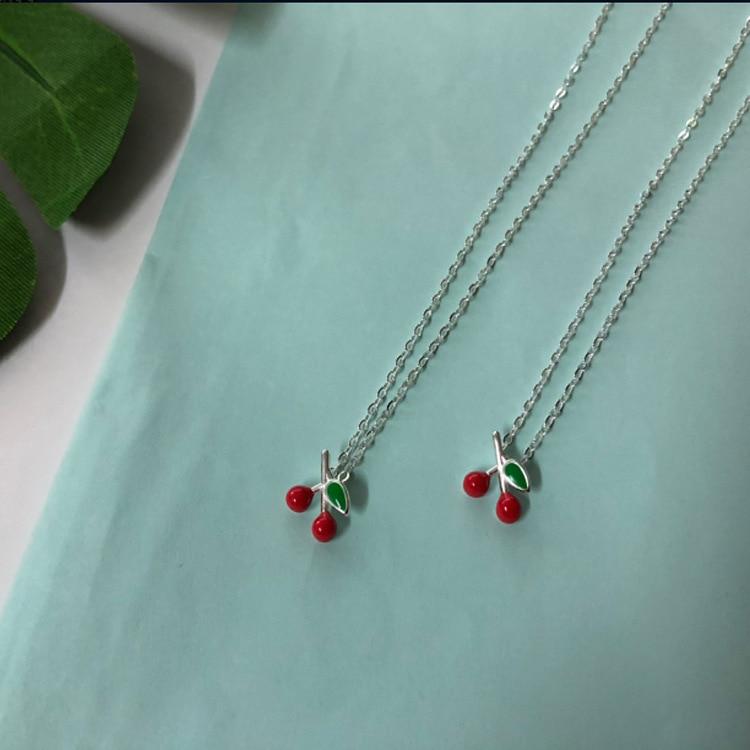 Neue silber süße kleine kirsche nette halskette einfache weiß schlüsselbein zubehör geschenk persönlichkeit CN05