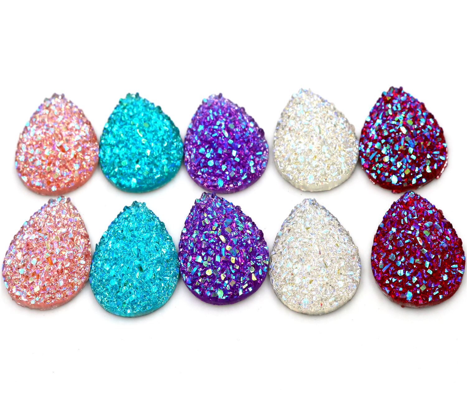New Fashion 10pcs 18x25mm Drop Style Mix Colors Natural Stone Types Flat Back Resin Cabochons Cameo