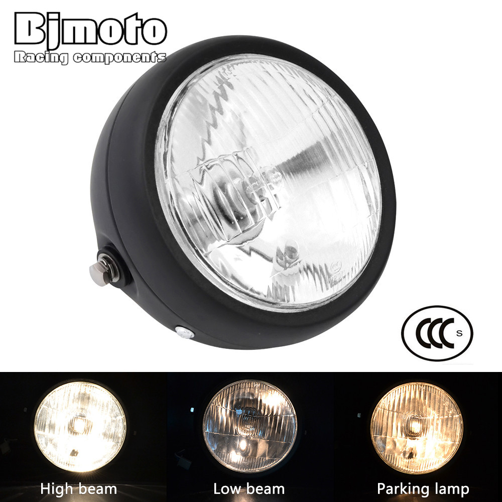 BJMOTO Retro 6 1/2 Motorcycle Headlight Head Lamp Amber Halogen Front Light For Harley Suzuki Yamaha Honda Cafe Racer