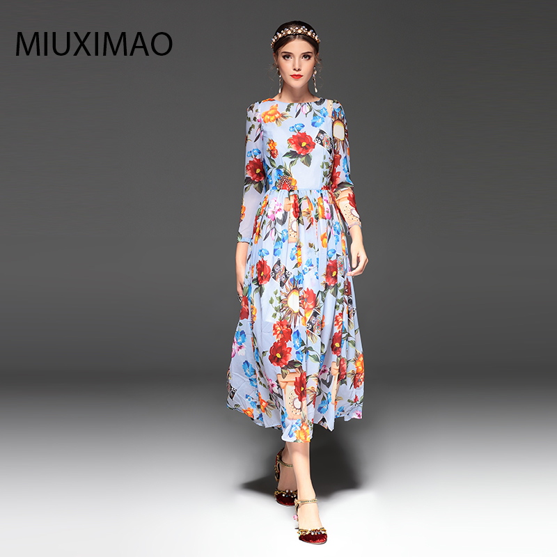2018 Spring amp Fall Newest Cute Style Dress Long Sleeve Fashion Designer Runway Dress Women 39 s Long Sleeve Elegant Long Dress Women in Dresses from Women 39 s Clothing