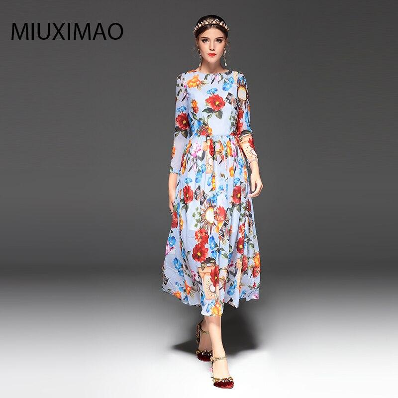 2018 Spring&Fall Newest Cute Style Dress Long Sleeve Fashion Designer Runway Dress Women's Long Sleeve Elegant Long Dress Women