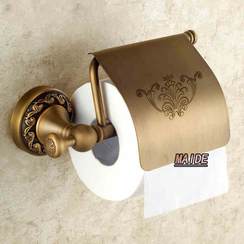 Unique style Artistic European Copper antique toilet paper holder tissue box bathroom accessories-H7632F black of toilet paper all copper toilet tissue box antique toilet paper basket american top hand cartons