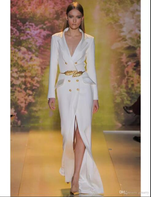 michael korns White Split Long Evening Dress 2017 High Quality Sleeves Sexy V-Neck Formal Prom Party Gowns with Gold Belt