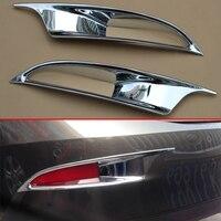 2Pcs Rear Fog Lamp Trims Reflector Covers For 2014 2018 Mazda3 Sedan BM BN High gloss Chrome Bumper Trims Exterior Accessories