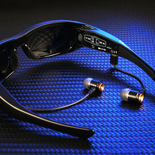 Wearable sunglasses hd 1080p mini camera with bluetooth earphones