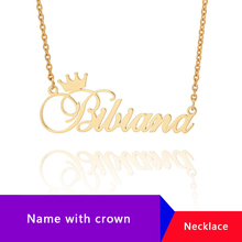 Personalized English Name With Crown Necklace Custom Necklaces Pendents Bijoux Stainless Steel Jewelry Accessories