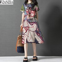Vestido 2017 ZANZEA Womens Vinatge Summer O Neck Short Sleeve Floral Print Casual Loose Mid Calf