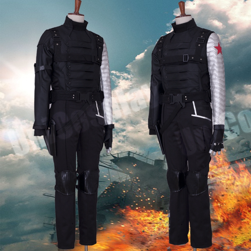 Captain America 2 Winter Soldier Bucky Barnes Cosplay Costume Man battle Suit Sets Halloween Uniform