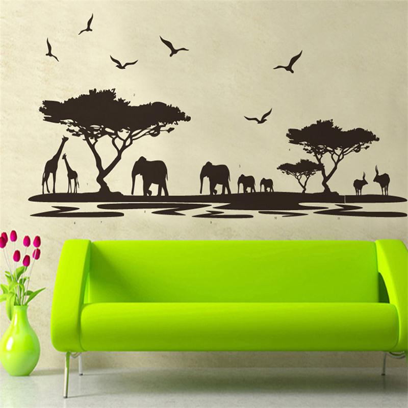 Black Safari Animal Tree Wall Stickers For Kids Rooms Elephant Giraffe Birds Decoration Decals Living Room Home Decor Poster