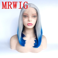 MRWIG Silver Grey Ombre Blue 12in Short Bob Straight Synthetic Glueless Front Lace Wig Mid Part For Woman