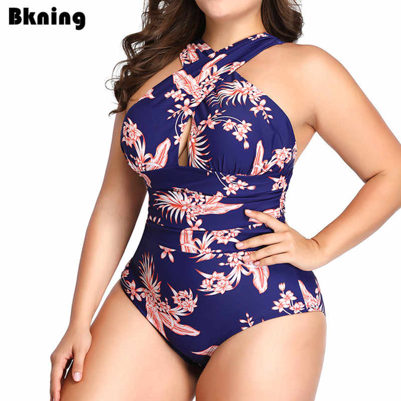 Plus Size Swimwear One Piece Swimsuit Indoor Large One-piece for Women Flower Printed Padded Swim Suit 2019 Vintage Cross 3XL