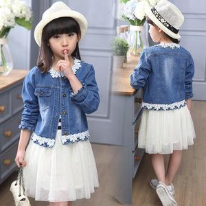 Primavera outono meninas conjuntos de roupas denim casaco jeans terno jaqueta + listrado tule vestido conjunto fille para 4 6 8 10 12 14 anos