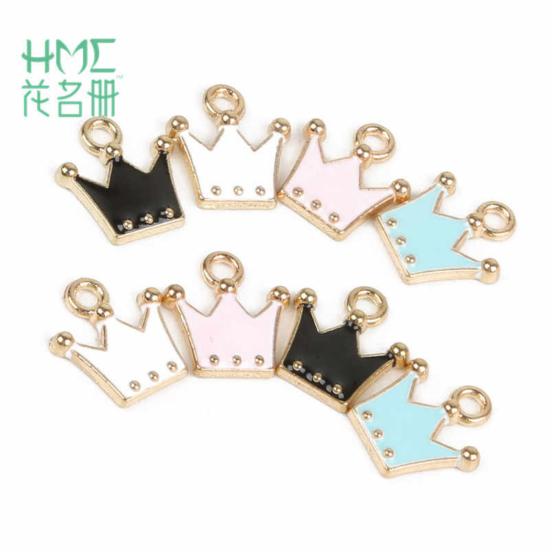 Direct Sale 10-12pcs 10x11mm Alloy Metal Drop Oil Crown Charms Pendant for DIY Bracelet Necklace Jewelry Making