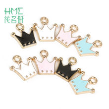 Direct Sale 10-12pcs 10x11mm Alloy Metal Drop Oil Crown Charms Pendant for DIY Bracelet Necklace Jewelry Making(China)