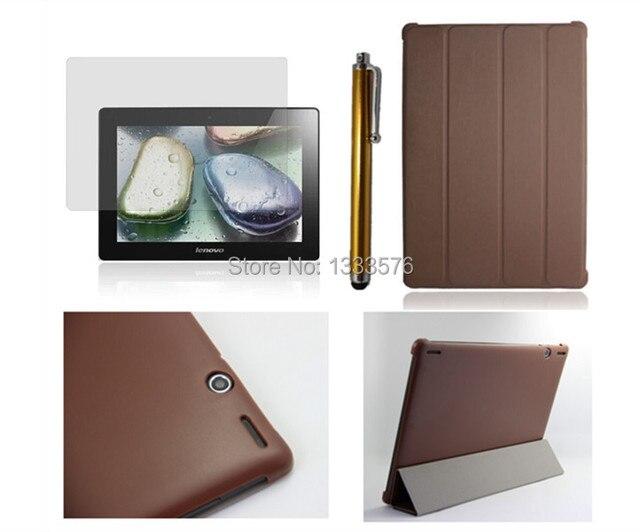 HOT! alta qualidade luxuoso magro pu leather case cove para lenovo s6000 10.1 polegadas tablet pc + stylus + tela de proteção film