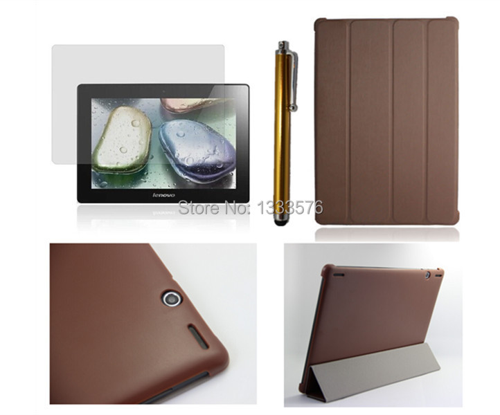 HOT! high quality Luxury Slim PU Leather Case Cove For Lenovo S6000 10.1 inch Tablet PC + Stylus+ screen protection film