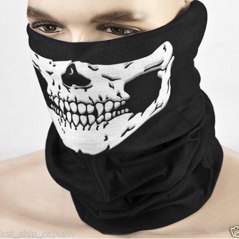 2017 Motorcycle Balaclava Skull Ghost Face Windproof Mask Outside Multifunctional Women Men Beanies Magic Scarf Halloween Props winter motorcycle skull windproof ghost face mask bicycle balaclavas scarf halloween cosplay skullies beanies wargame