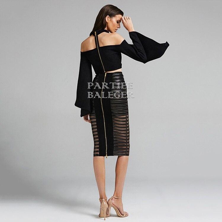 De Noir Élégant Partie Chic Embelli 2019 Deux Robe Sexy Celebrity L'épaule Hors Ensemble Nouvelle Bandage Évasée Crochet Pièces Arrivée Manches CqvvwSAx