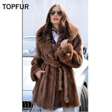 TOPFUR 2018 New Type Real Mink Fur Coat Women Draped Mink Fur Coat With Big Hood British Style Fashion Fur Outwear Female Like