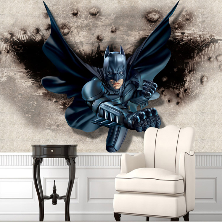 Buy 3d batman wall mural custom large for Batman bedroom wall mural