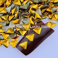 1000PCS 6mm triangle gold silver metal nail art decorations studs rhinestones nails accessoires supplies tool wholesale