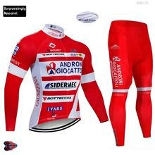 2019 Pro ANDRONI Winter Fleece Thermal Cycling Jersey Long Sleeve Set Ciclismo Ropa Team Bike Bicycle Cycling Clothing Color Red bxio winter cycling jersey thermal fleece pro team bike clothing long sleeves bicycle clothes invierno ropa ciclismo hombres 092