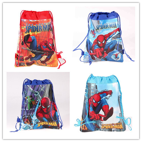 HOT 12PCS/LOT Spider Man Children Drawstring Backpacks School Shopping Bags 34*27CM Non Woven Fabrics Kids Xmas Party Gift