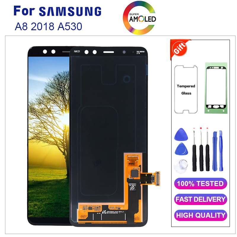 Amoled lcd For Samsung A8 2018 A530 LCD Display +Touch Screen Digitizer Assembly Replacement Assembly Replacement PartsAmoled lcd For Samsung A8 2018 A530 LCD Display +Touch Screen Digitizer Assembly Replacement Assembly Replacement Parts