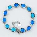 Oval azul / branco / Rainbow Fire Opal pulseiras de cadeia