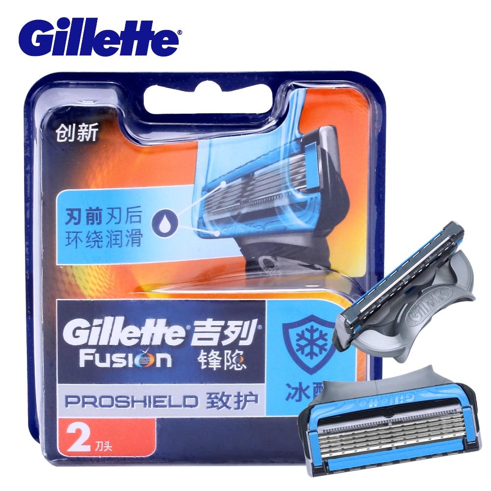 Gillette Fusion Proshield Shaver Blades Shaving Razor Blades With Cool Factor For Men Beard Shave Blade New 2Pcs/Pack gillette shaving razor blades for men blades 2