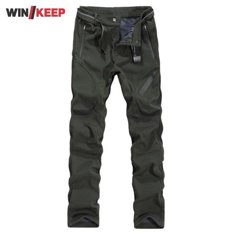 Grande taille L-9XL hommes randonnée pantalon polaire doublé chaud escalade pêche pantalon pour homme coupe-vent pantalon imperméable en plein air pantalon