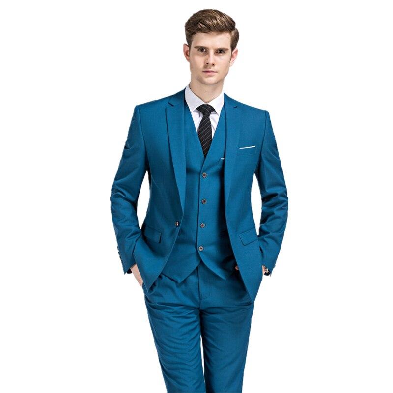 2019 ใหม่ seasons สไตล์บูติกชุดลำลองเจ้าบ่าวงานแต่งงานชุดสามชุด (เสื้อ + กางเกง + เสื้อกั๊ก) s 3XL-ใน สูท จาก เสื้อผ้าผู้ชาย บน   1