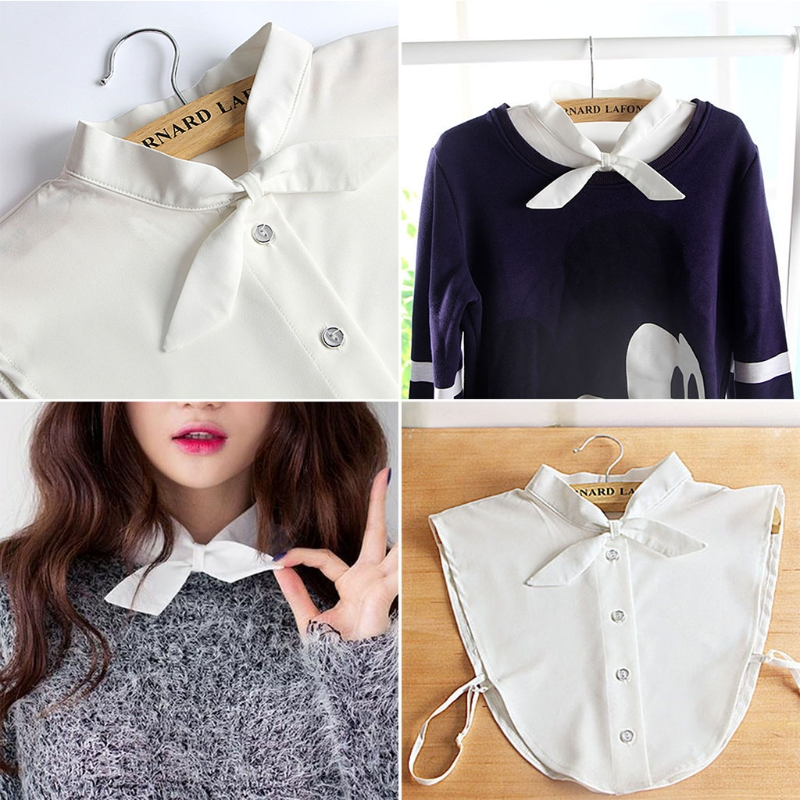 THINKTHENDO Women Pure Color Bow Detachable Lapel Choker Necklace Shirt Fake False Collar