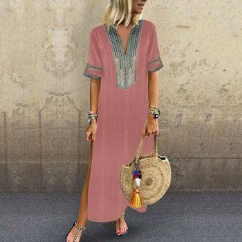 Cotton Ethnic Long Dress Women Split Maxi Loose Summer Casual Evening Party Beach Kaftan Full Dresses Plus Szie 5XL