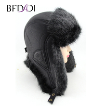 BFDADI 2018 New Men Winter Warm Bomber Hats Russian Cap Trapper Caps Aviator Trooper Earflap Hats Outdoor Sport Hat FreeShipping cheap Letter Faux Fur Faux Leather Cotton 2-20heimaosibanchunheimaozi Adult