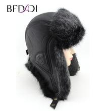 BFDADI 2019 New Men Winter Warm Bomber Hats Russian Cap Trap