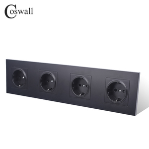 Image 2 - COSWALL 4 Gang Wall Power Socket Grounded 16A EU Standard Quadruple Outlet With Childen Protective Door PC panel