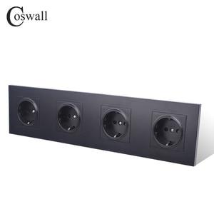 Image 2 - Coswall 4 Gang Stopcontact Geaard 16A Eu Standaard Quadruple Outlet Met Kinderpark Beschermende Deur Pc Panel
