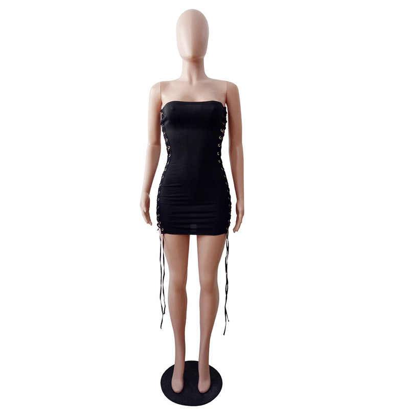33bee16a67 ... Women Dresses Sexy Hollow Out Slim Bandage Bodycon Sexy Club Party  Dress Black WS7546R ...