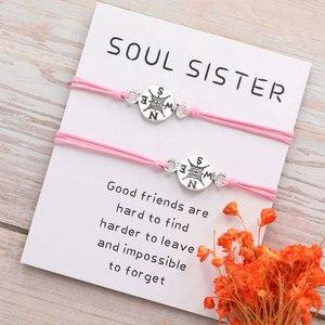 Лучший друг подарки для нее Междугородные отношения дружба Компас браслет для него браслет для пары
