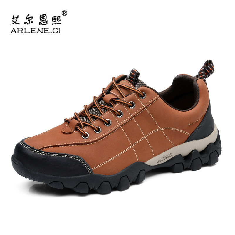 New Genuine Leather Hiking Shoes for Men Outdoor Climbing Trekking Damping Sports Low Sneakers Male Walking Traveling Shoes Man humtto new hiking shoes men outdoor mountain climbing trekking shoes fur strong grip rubber sole male sneakers plus size