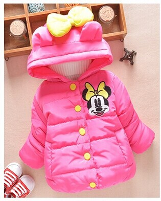 1800b856e Hot sale Minnie mouse Baby Kids Girls Winter warm outwear with a ...
