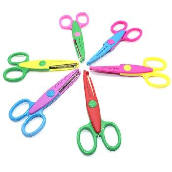 1 Pc Handmade Children DIY 6 Patterns Album Lace Scissors Card Photo Pattern Scissors Cartoons Lace Scissors