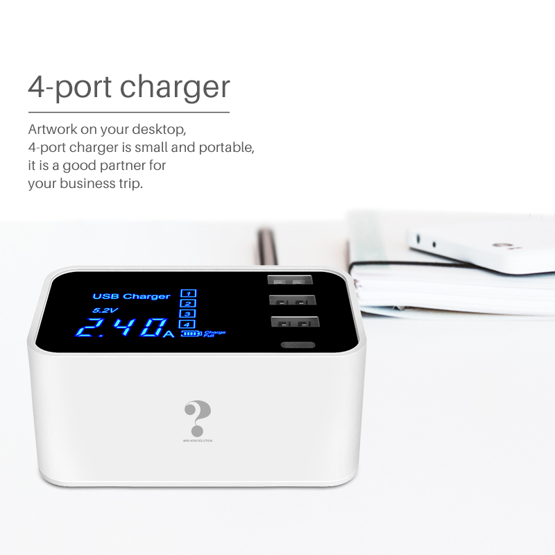 fast charging Type C USB Charger  LCD Display Smart Charger HUB Travel Mobile Phone Wall adapter For iPhone Samsung Xiaomi Meizu