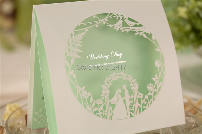 aliexpresscom buy romantic laser cut bridal and groom square wedding invitation with mint green inner sheet and free customized print from reliable